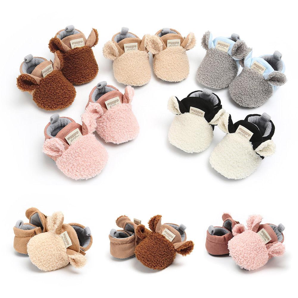 Winter Cute Warm Shoes Baby Girls Shoes Fleece Warming Toddler Infants Girl Flock Shoes Newborn Baby Soft Sole Prewalker