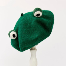 Frog Beret Green-Hat Lovely Wool Autumn Winter New-Pattern And Manual One-Top Gift Send