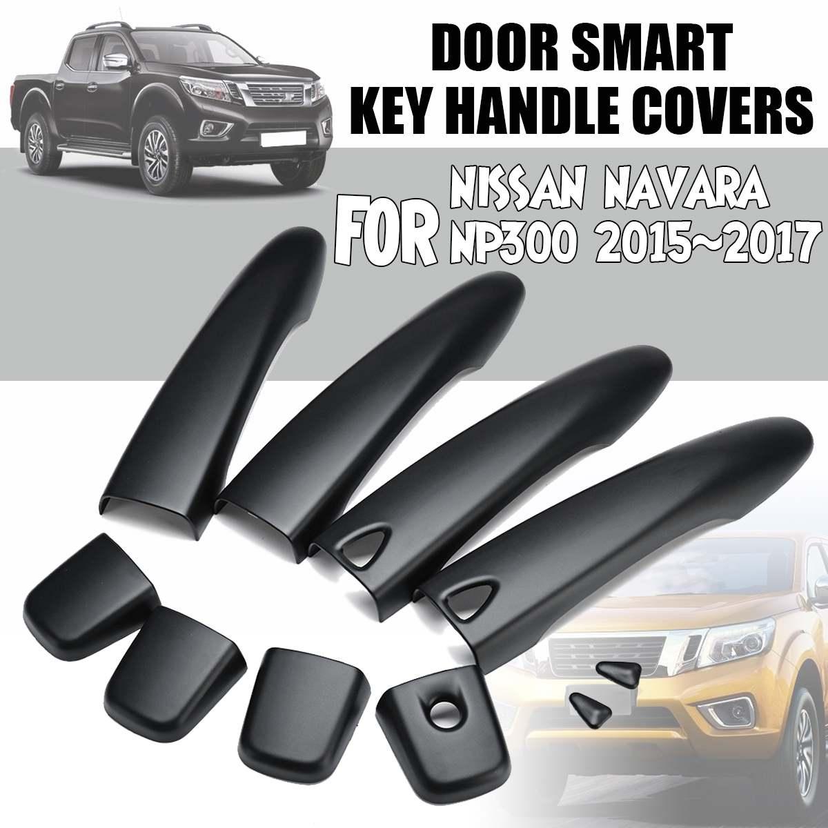 Fits Nissan Np300 Navara 14 18 Door Handle Bowl Insert Cover Trim Black Carbon