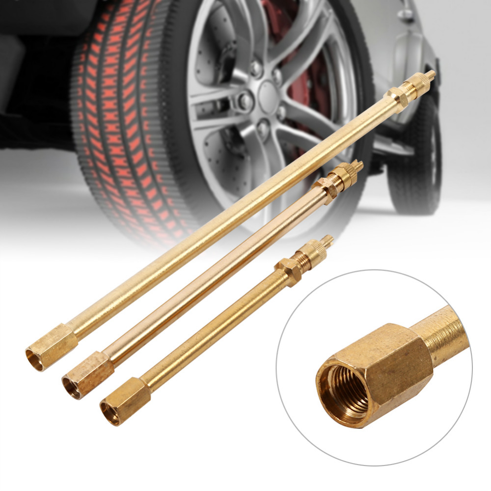 Tire Valve Stem Brass Metal Tire Valve Extension Straight Bore For Truck Motorcycle Car 100mm/ 140mm/200mm