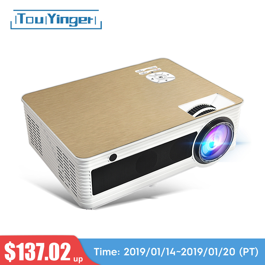 Touyinger M5 LED proyector HD 4000 lúmenes (Android 6,0 Bluetooth 5G WiFi 4 K opcional) TD86 proyector de cine en casa 1080 P 3D