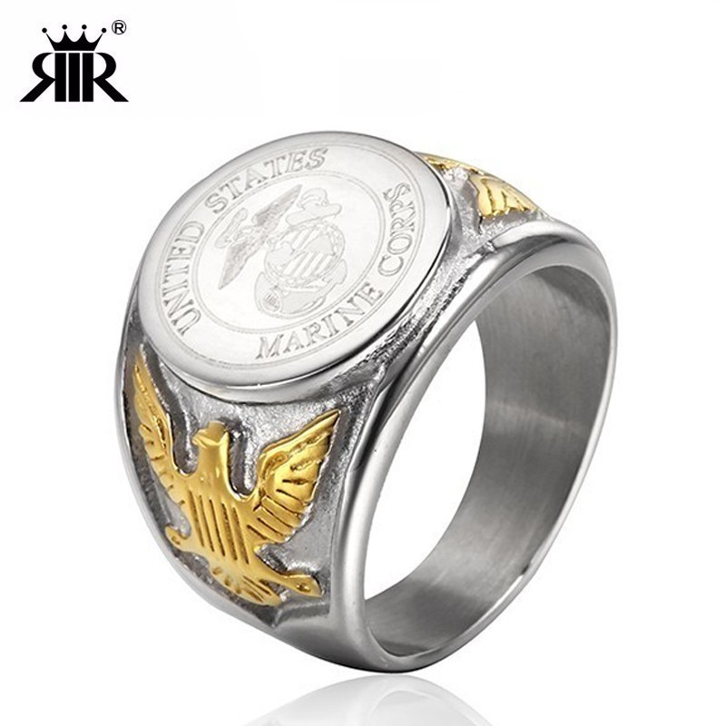 RIR Silver Color Gold US Eagle Border Stainless Steel Mens Military <font><b>Ring</b></font> The United States <font><b>USMC</b></font> Army Navy <font><b>Ring</b></font> image