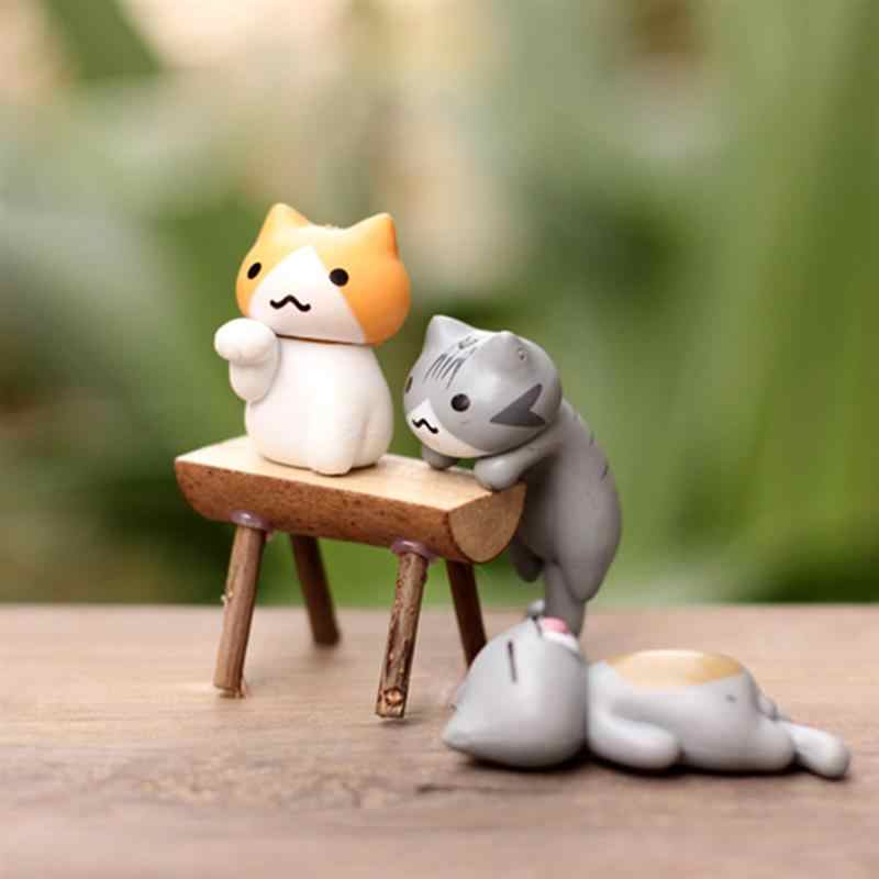 Mini Cats Miniature Cartoon  Vivid Garden Miniatures Craft Fairy Decor for Micro Landscape Home Plant Pots Bonsai Garden