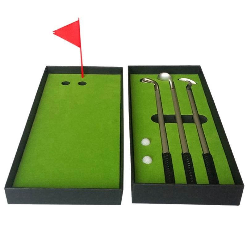 New Mini Golf Club Putter Ball Pen Golfers Gift Box Set Desktop Decor For School Supplies Golf Accessories
