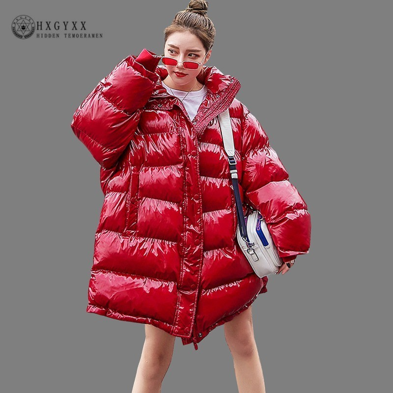 2019 Plus Size Loose Puffer Jacket Women Clothes Winter Coat Thick Warm Cotton   Parka   Korean Bright Metal Red Outwear Okd646
