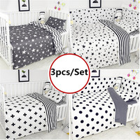 3PCS Baby Bedding Set Duvet Cover Flat Sheet Pillowcase Nursery Bed Cotton Cartoon Baby Bedding Sets Baby Crib Bumpers