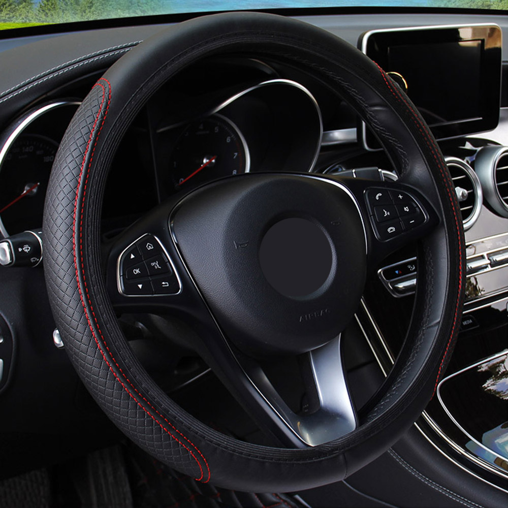 Forauto volante do carro capa skidproof auto volante capa anti-derrapante universal de gravação de couro carro-estilo