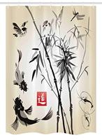 Japanese Stall Shower Curtain, Artistic Birds Fishes Bamboo Leaves Abstract Painting Oriental Style, Fabric Bathroom Decor