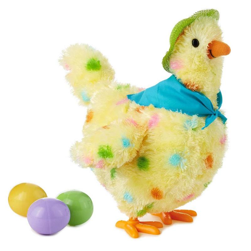 Kids Electric Laying Hen Simulated Singing Vocal Plush Toy Animal Doll Sounding Talking Toys Teaching Static Model Kid Present