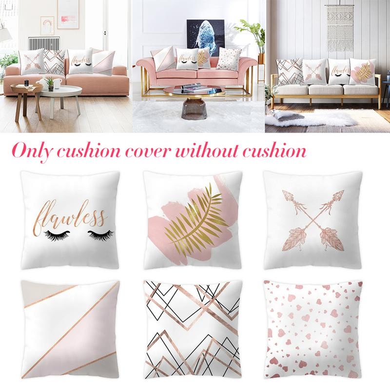 45*45 Rose Gold Pineapple Painting Linen Throw Pillowcases Geometric Pillows For Neck Home Classy Decor Printed Cushion For Sof