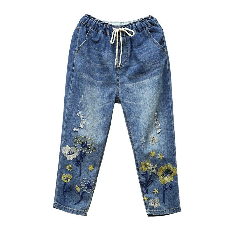 Capris Womens High Waist Jeans Woman Denim Pant Summner 2019 Vintage Loose Ripped Hole Embroidery Pantalon Jean Femme Plus Size