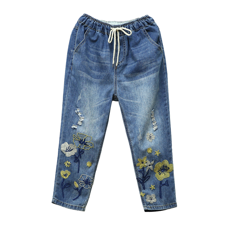 Capris Womens High Waist Jeans Woman Denim Pant Summner 2020 Vintage Loose Ripped Hole Embroidery Pantalon Jean Femme Plus Size