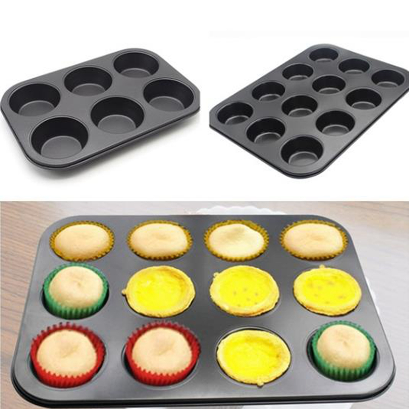 12 mini cup /6 normal Cups Nonstick Muffin <font><b>Baking</b></font> <font><b>Pan</b></font> Thicken <font><b>Round</b></font> Shape Bakeware Cupcake Cake Mold <font><b>Baking</b></font> Mold image