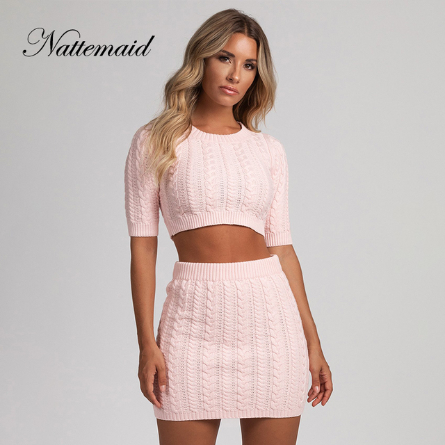 0f9f207d9 NATTEMAID Crop Top And Skirt Set 2 Piece Set Women Casual Sexy Club Two  Piece Set Outfits Bodycon Tracksuit Autumn Sweat Suits