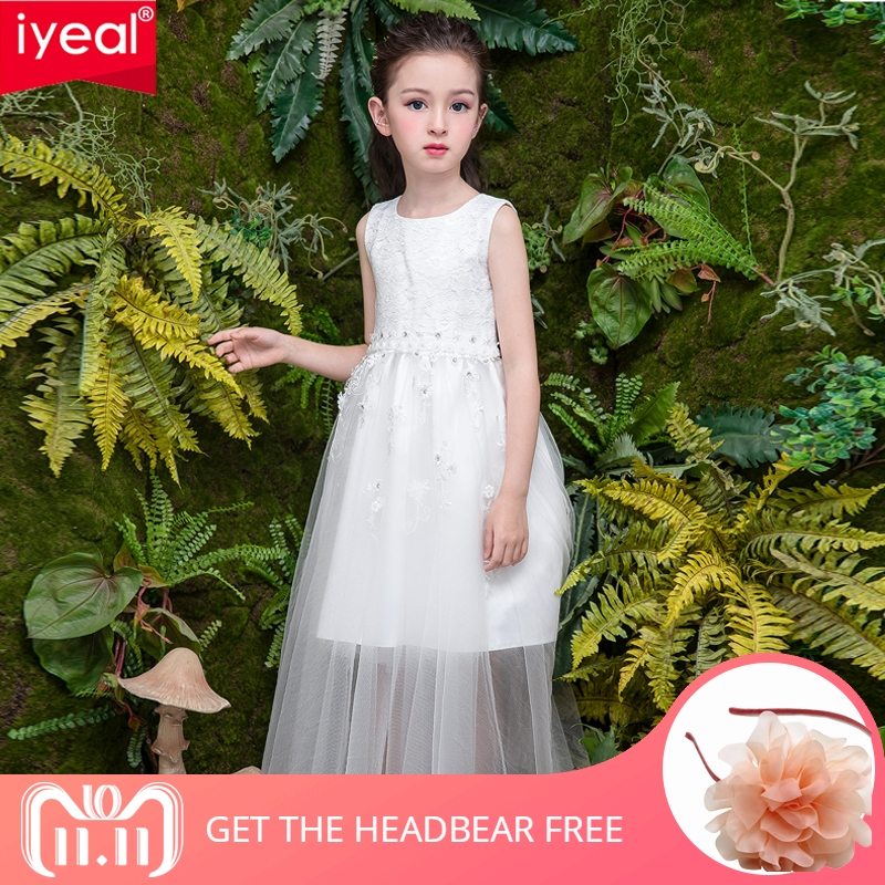 IYEAL 2018 New Prom Party Princess Flower Girl Dress Wedding Long Formal Children Birthday Dresses For Girls Kids 4-12 Years