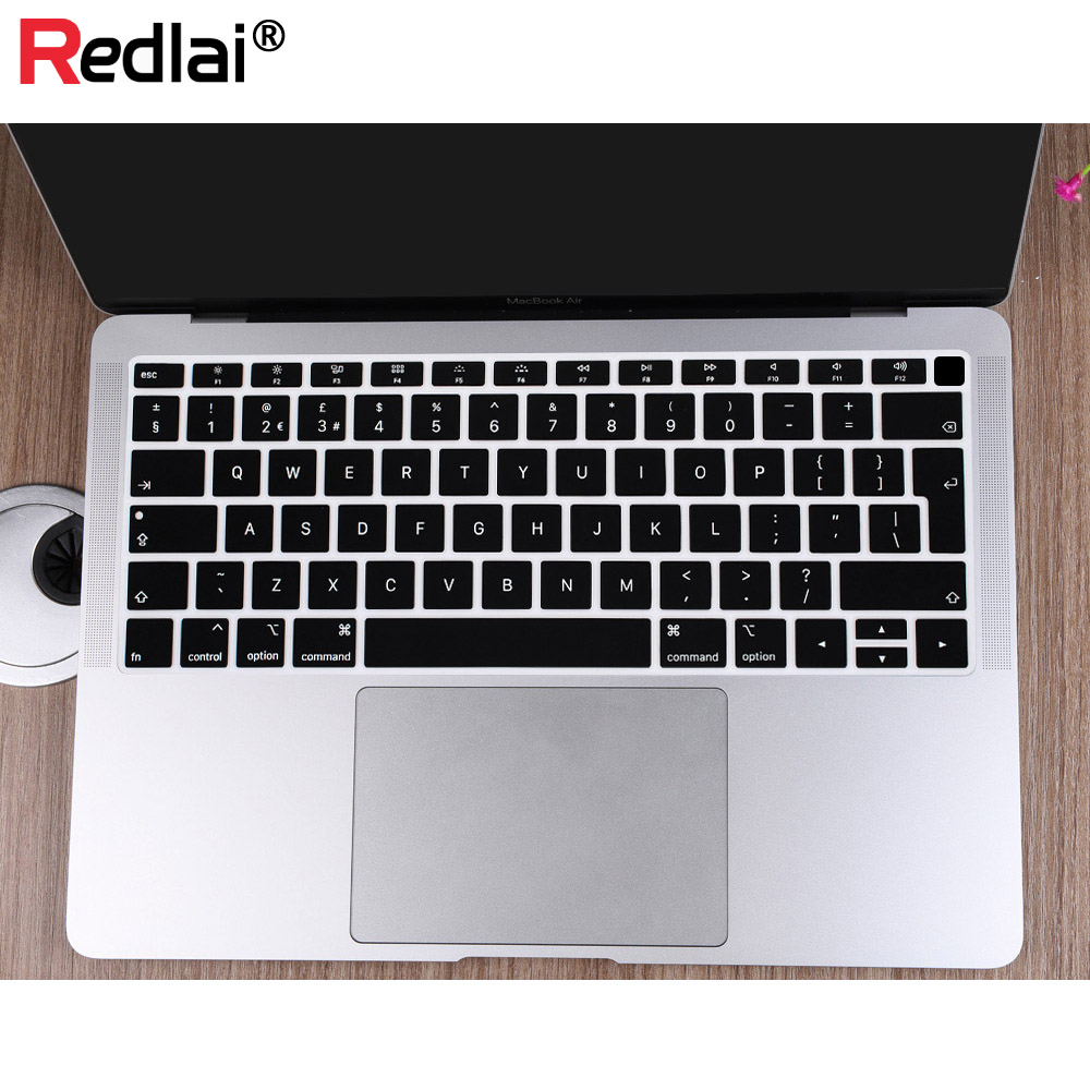 EU Us for MacBook Air 13 Keyboard Cover 2018 Silicon for A1932 English for MacBook Air 13 2018 A1932 Keyboard Film Skin-Us White
