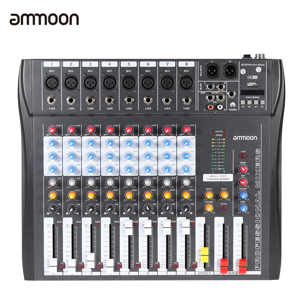 ammoon CT80S USB 8 Channel Mixer Digital Mic Line Mixing Console with 48V Phantom Power for