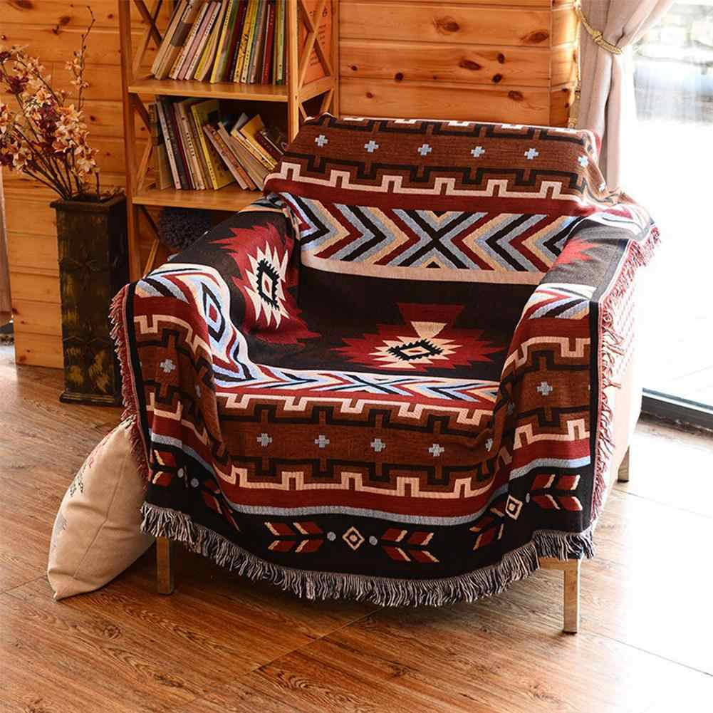 National Style Geometry Throw Blanket Slipcover Cobertor for Plane Travel Bed Supplies