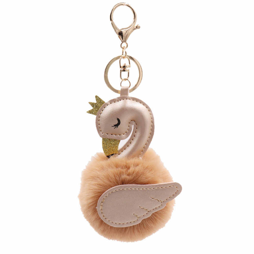 Брелок Плюшевый Лебедь нежный ключ пряжка украшение висящий прекрасный украшенный брелок кулон