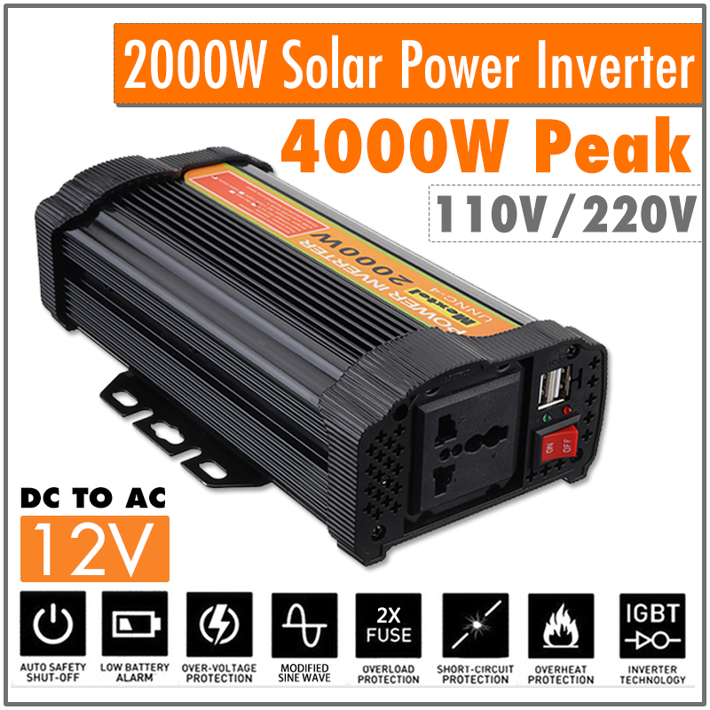 Power Inverter 2000W DC 12 V to AC 220 V Volt Car Adapter Charge Converter Modified Sine Wave USB Max 4000 Watts Transformer