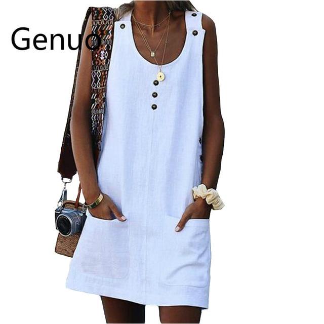 197c2fb71830 Presupuesto Vestido de tirantes con botones para mujer, sin mangas ...