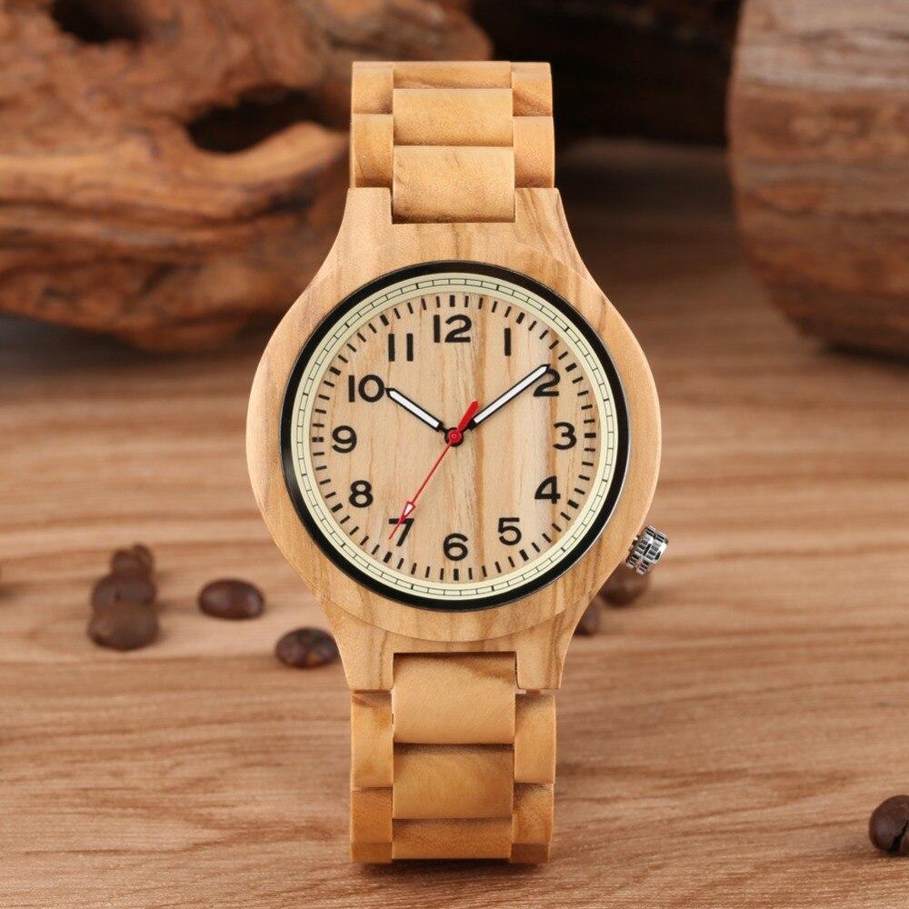 Mode montre en bois Quartz Sport loisirs plein bois femmes montre naturel HandmadeC Simple boîtier chiffres arabes Horloges Mannen
