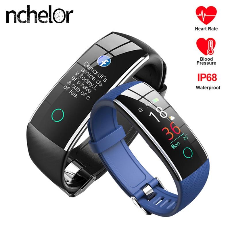 Smart Fitness Tracker Band Heart Rate Monitor Watch Women Men Blood Pressure Measurement Wristband Color Screen Bracelet