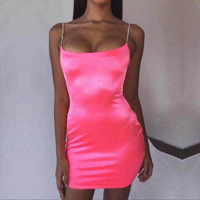 Parthea Bling Satin Bodycon Sexy Dress Women Party Diamond Straps Mini Dress Elegant Summer Dress Short Vestidos Robe Femme 2019 1