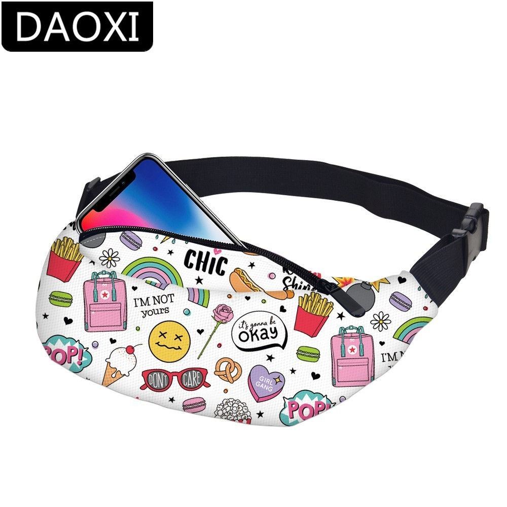 DAOXI Waterproof Casual Vacation Fanny Pack Women Adjustable Strap Travel Waist Pack Men Hip Pouch Dropshipping YB-40