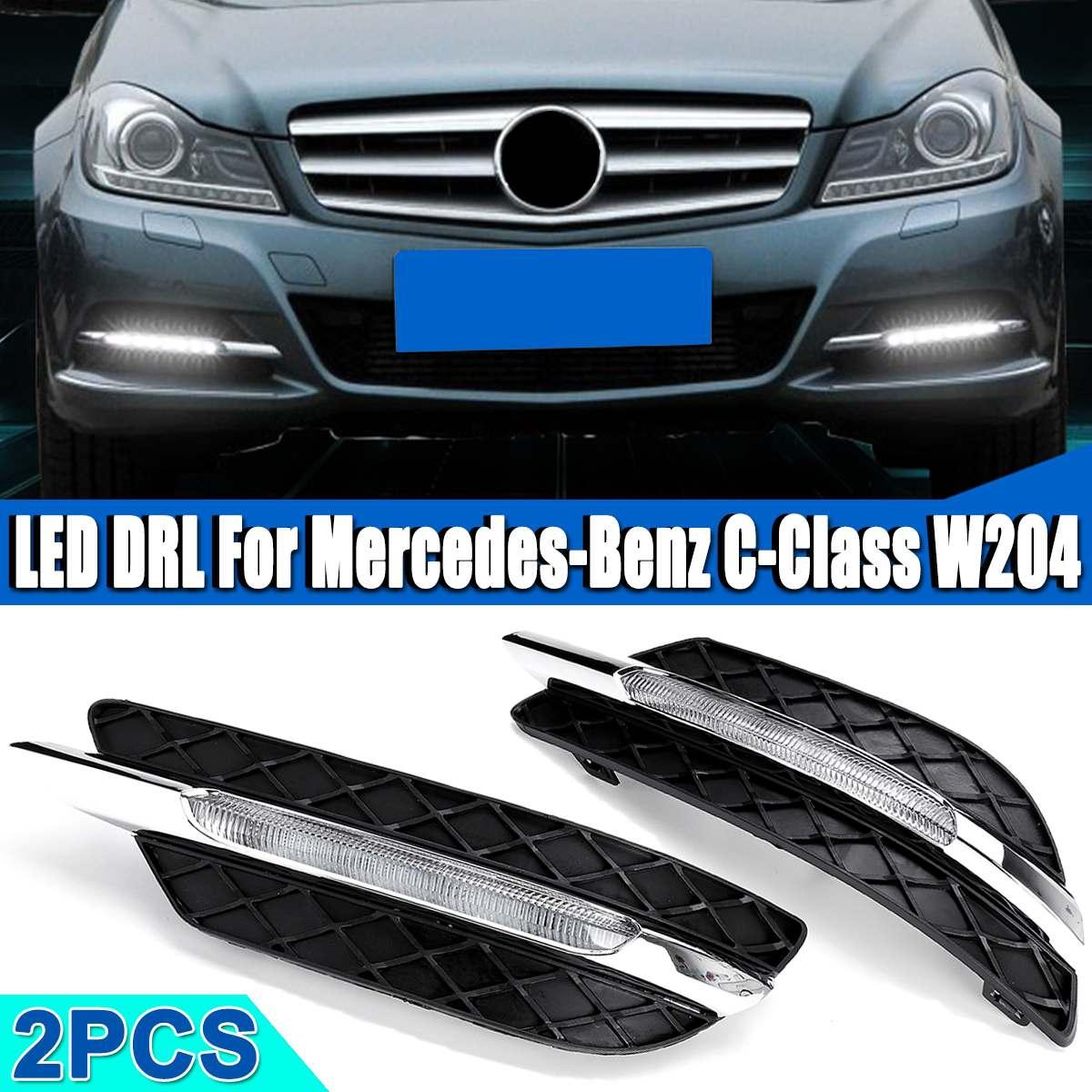 LED DRL White Daytime Running Light Amber Turn Signal Light Fog Lamps For Mercedes-Benz C-Class W204 2011 2012 2013