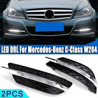LED DRL White Daytime Running Light Amber Turn Signal Light Fog Lamps For Mercedes Benz C Class W204 2011 2012 2013