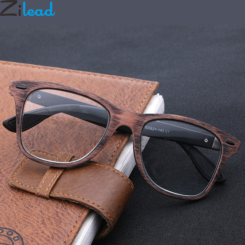 Zilead Retor Imitation Wood Reading <font><b>Glasses</b></font> For Women&Men Radiation Presbyopia <font><b>Glasses</b></font> For +<font><b>1.0</b></font>+1.5+2.0+2.5+3.0+3.5+4.0 Unisex image