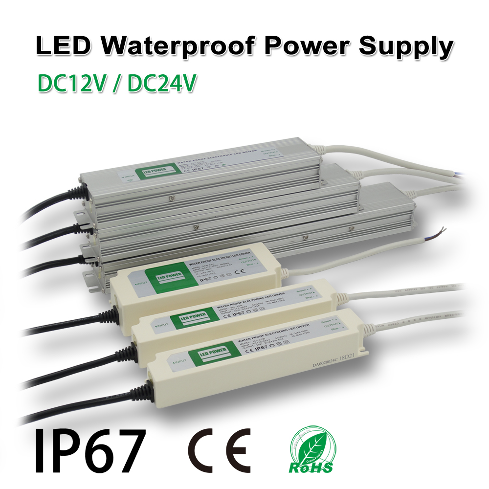 LED Strip Waterproof Power Supply,IP67,DC12/24V,Drive,Adapter transformer,Indoor & Outdoor Use,for panel lights,Linear lighting