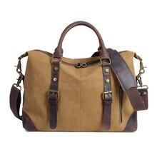 купить Hot Men Shoulder Crossbody Handbag Canvas Multi-function Satchel Retro Fashion Casual Messenger Bags Business Computer Briefcase по цене 4972.77 рублей