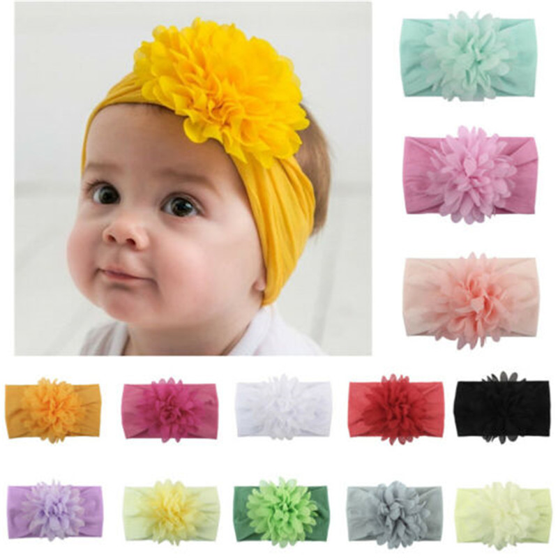 Newborn Infant Kids Baby Girls Cotton Blend Bow Hairband Flower Headband Sweet Turban Knot Head Wrap   Headwear   Hair Accessories