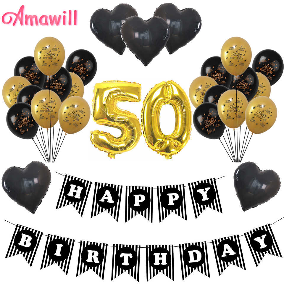 Amawill Cheers 50th Birthday Gold 32inch Number Balloons Happy 50 Years Old Party Decorations Men Women Party Favors Supplies 8d Supplies Party Aliexpress