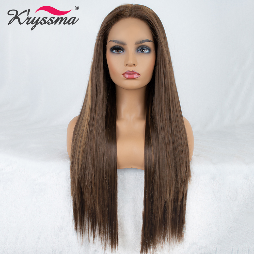 Brown Wig Long Straight Synthetic Lace Front Wig Highlights Wigs for Women 24 Inches Right Part
