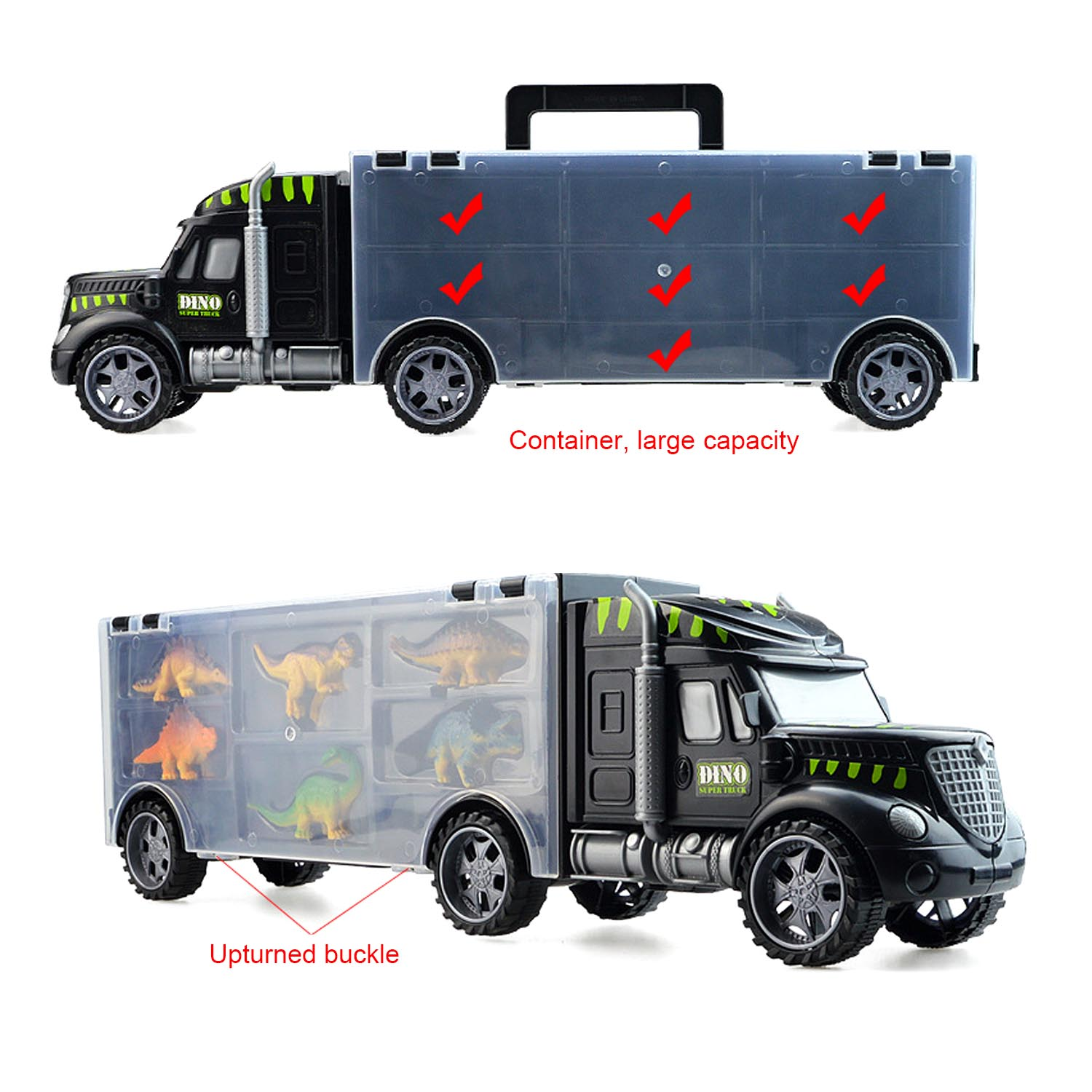 Kids 1PCS Dinosaur Transport Carrier Truck Vehicle Car With 6pcs Plastic Dinosaur Animal Models Transport Traffic Toy