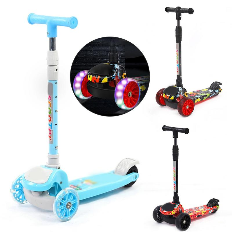 Trois roues pliant enfants coup de pied Scooter Graffiti modèle réglable en hauteur enfants Scooter avec lumière LED roues