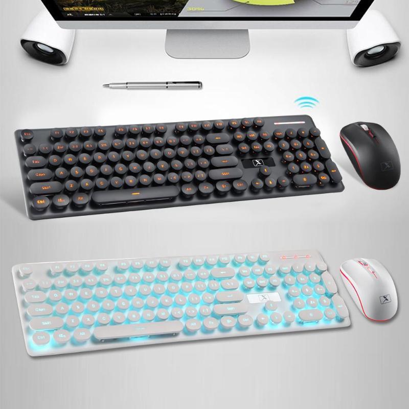 1 ensemble clavier et souris sans fil Combo 2.4 GHz Rechargeable mécanique sensation rétro touches clavier souris ensemble pour accessoires PC