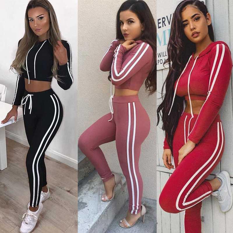 2 sztuk kobiety dres bluzy z kapturem bluza spodnie zestawy odzież sportowa Jogging dresy