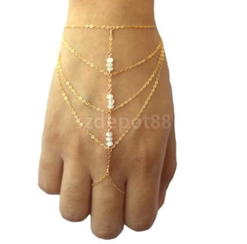 Celebrity Tassel <font><b>Chain</b></font> Acrylic Beads <font><b>Bracelet</b></font> Slave Finger <font><b>Ring</b></font> <font><b>Hand</b></font> Harness image