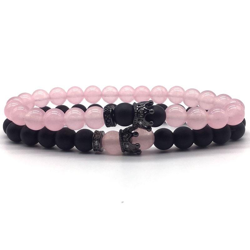 2Pcs set Crown Bracelet Men Women Sweet Pink black matte 8mm Stone bead golden silver Crown Couple Bracelets charm Jewelry Gift in Charm Bracelets from Jewelry Accessories