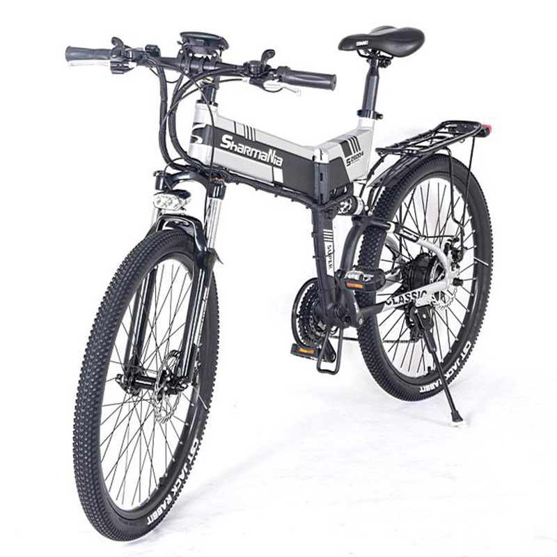 Bicicleta Elétrica dobrável 48 V 350 w Duas rodas LG 10.4AH 26 polegada Montanha Ebike Bateria De Lítio Branco/Amarelo scooter elétrica dobrável