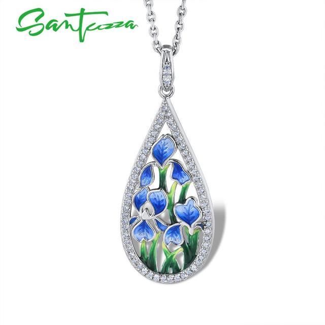 SANTUZZA الفضة زهرة قلادة للنساء 925 فضة اليدوية المينا الأزرق البتلة قلادة صالح لل قلادة الأزياء والمجوهرات