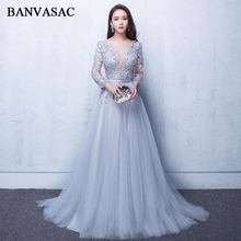 BANVASAC 2019 Illusion O Neck Lace Appliques A Line Long Evening Dresses Party 3/4 Sleeve Sash Backless Prom Gowns