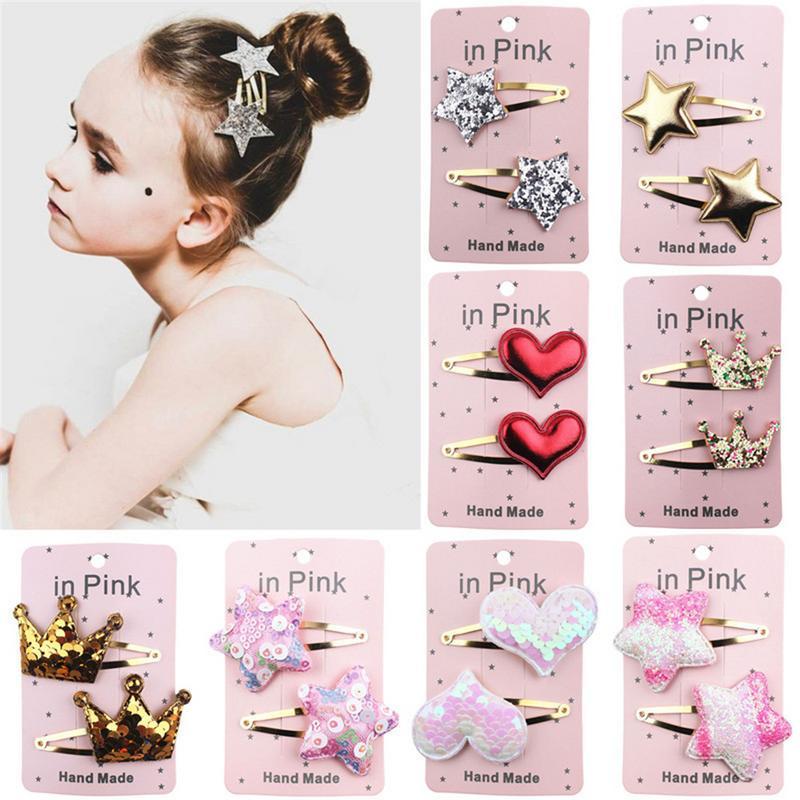 Multi Baby Girl Hairpin Headband Pentagram Hair Clip Heart Shaped Baby Hair Pins Crown Clip Dress Accessories Cute Hair Bands