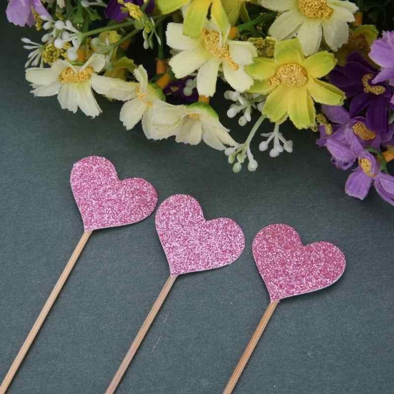 40 teile/satz Farbige Bling Herz Form Einfügen Karten mit Zahnstocher für Hochzeit Geburtstag Party Nette Reizende Geschenke Kuchen Dekorationen