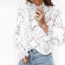 цена на Fashion Summer White Lace Blouse Women Shirt High Street Petal Sleeve Blouses Female Long Sleeve Casual Tops