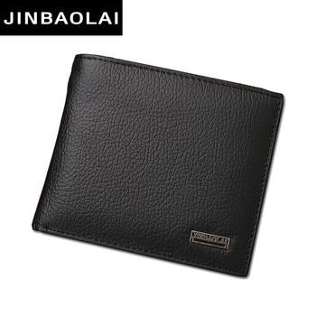 Luxury 100% Genuine Leather Wallet Fashion Short Bifold Men Wallet Casual Soild Men Wallets With Coin Pocket Purses Male Wallets
